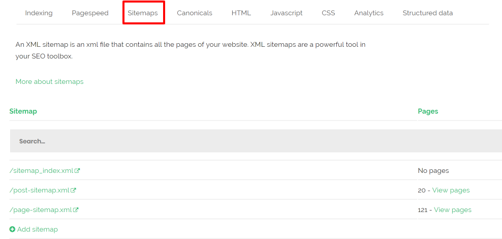 sitemap detected audit tool checker