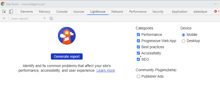Chome dev tools Lighthouse report