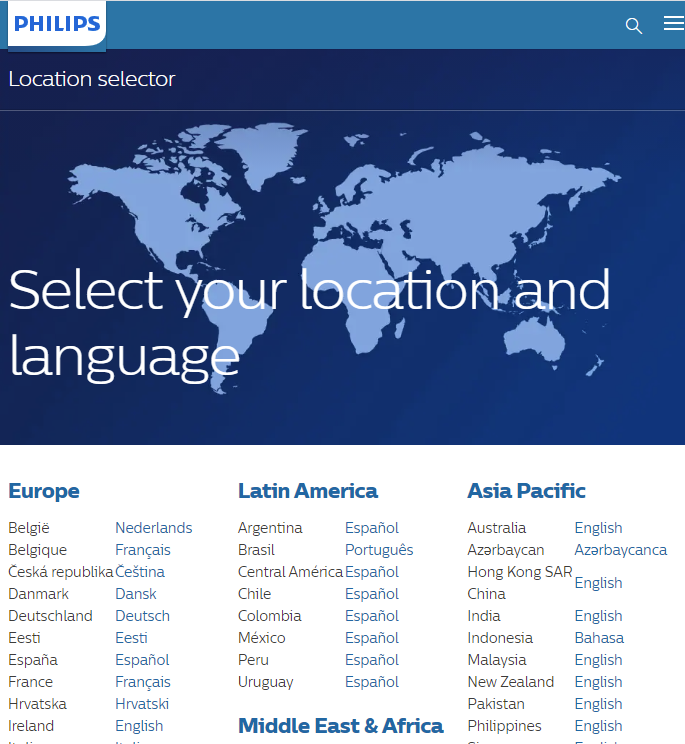 A language and country selector