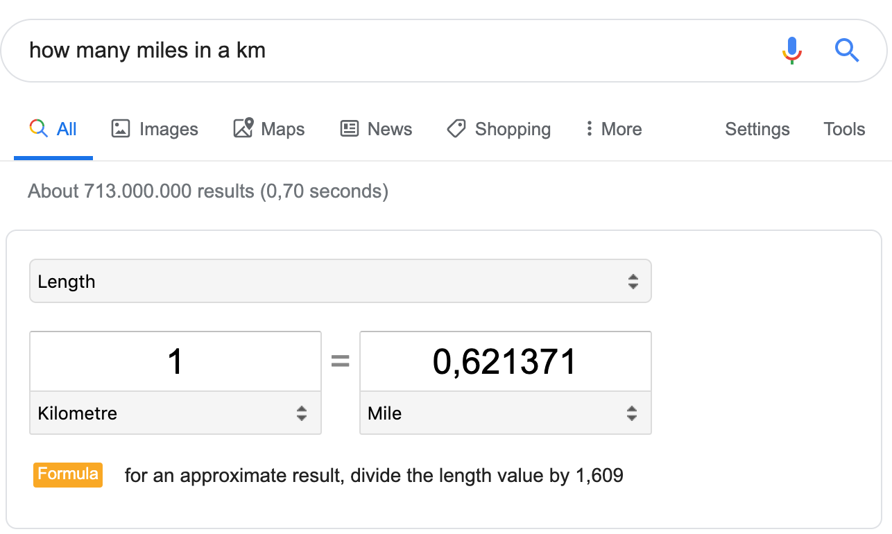 Featured snippet miles to kilometers
