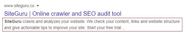 Meta description in Google's search results