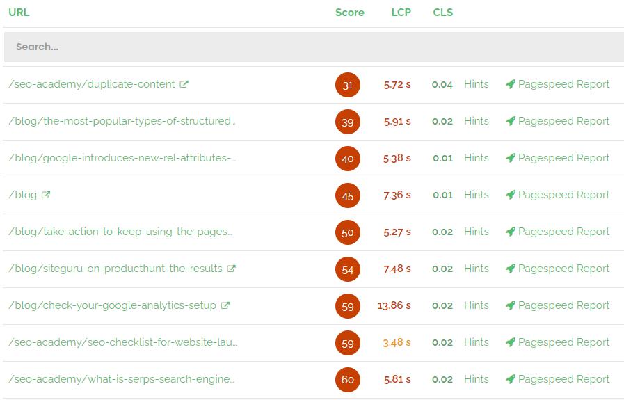 SiteGuru's pagespeed report