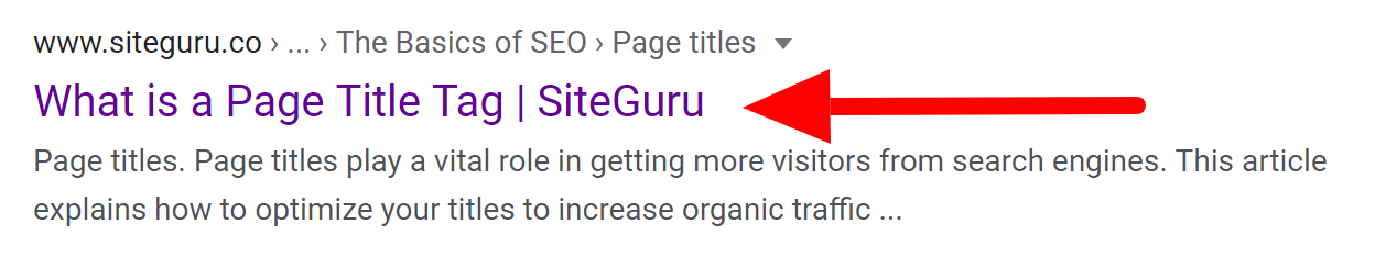 title tag on serp