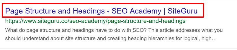 Example of title tag in SERP></p>  <p>The H1 tag <h1>, on the other hand, is the HTML element for the first-level heading within the body text of the webpage.</p> <p>In most cases, H1 tags are called the second